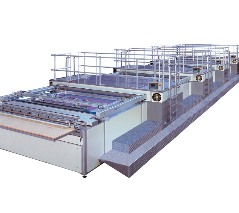 3/4-automatic screen printing system with rotary grippers