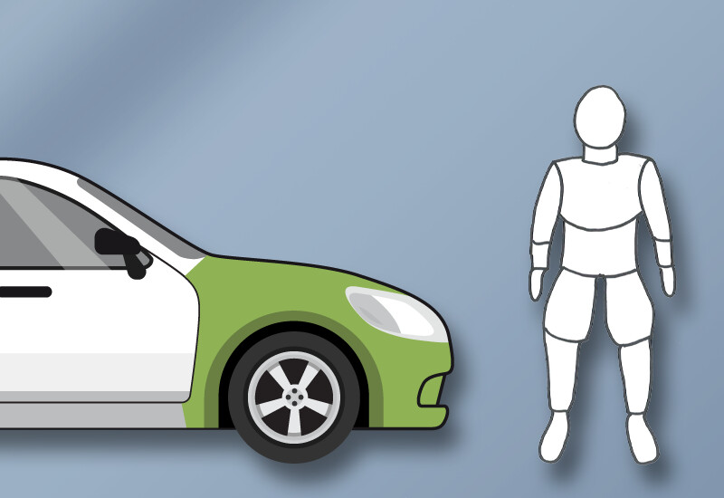 Pedestrian protection made of polyurethane e.g. in the bumper or under the bonnet