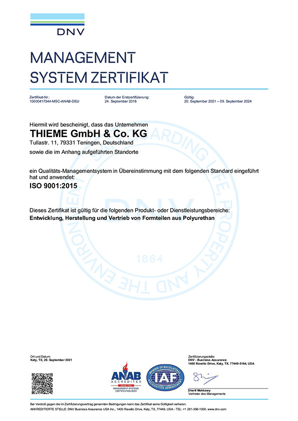 Management System Zertifikat ISO 9001:2015