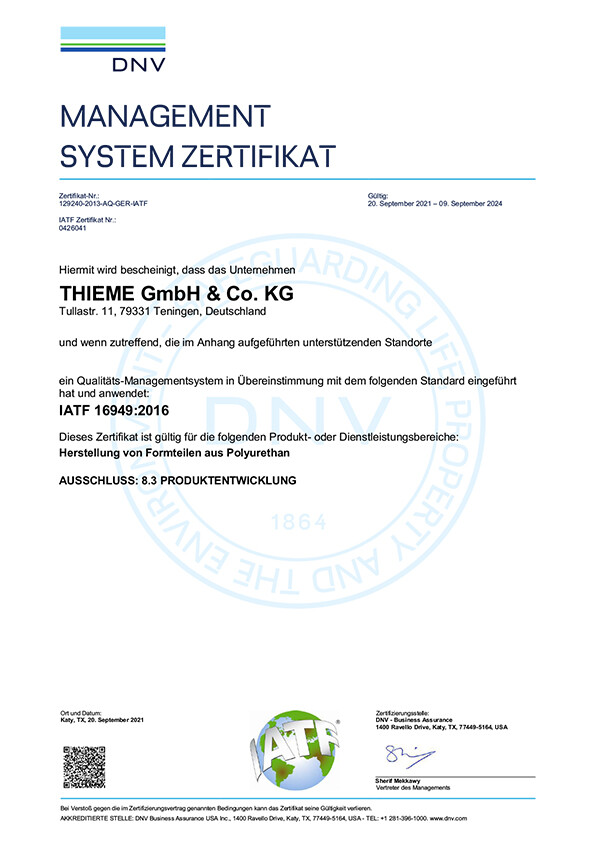 Management System Certificate ISO 16949:2016