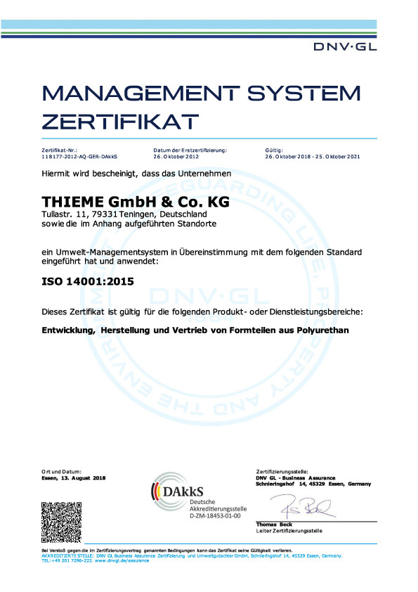 Management System Zertifikat ISO 14001:2015
